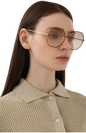 Женские солнцезащитные очки LINDA FARROW коричневого цвета, арт. LFL1148C2 SUN   Фото 2