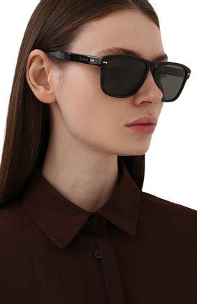Женские солнцезащитные очки GUCCI темно-коричневого цвета, арт. GG0911S 001 | Фото 2