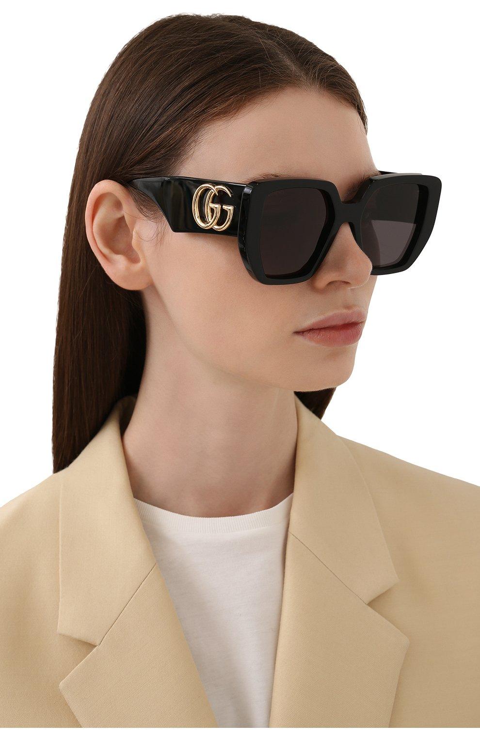Женские солнцезащитные очки GUCCI черного цвета, арт. GG0956S 003 | Фото 2