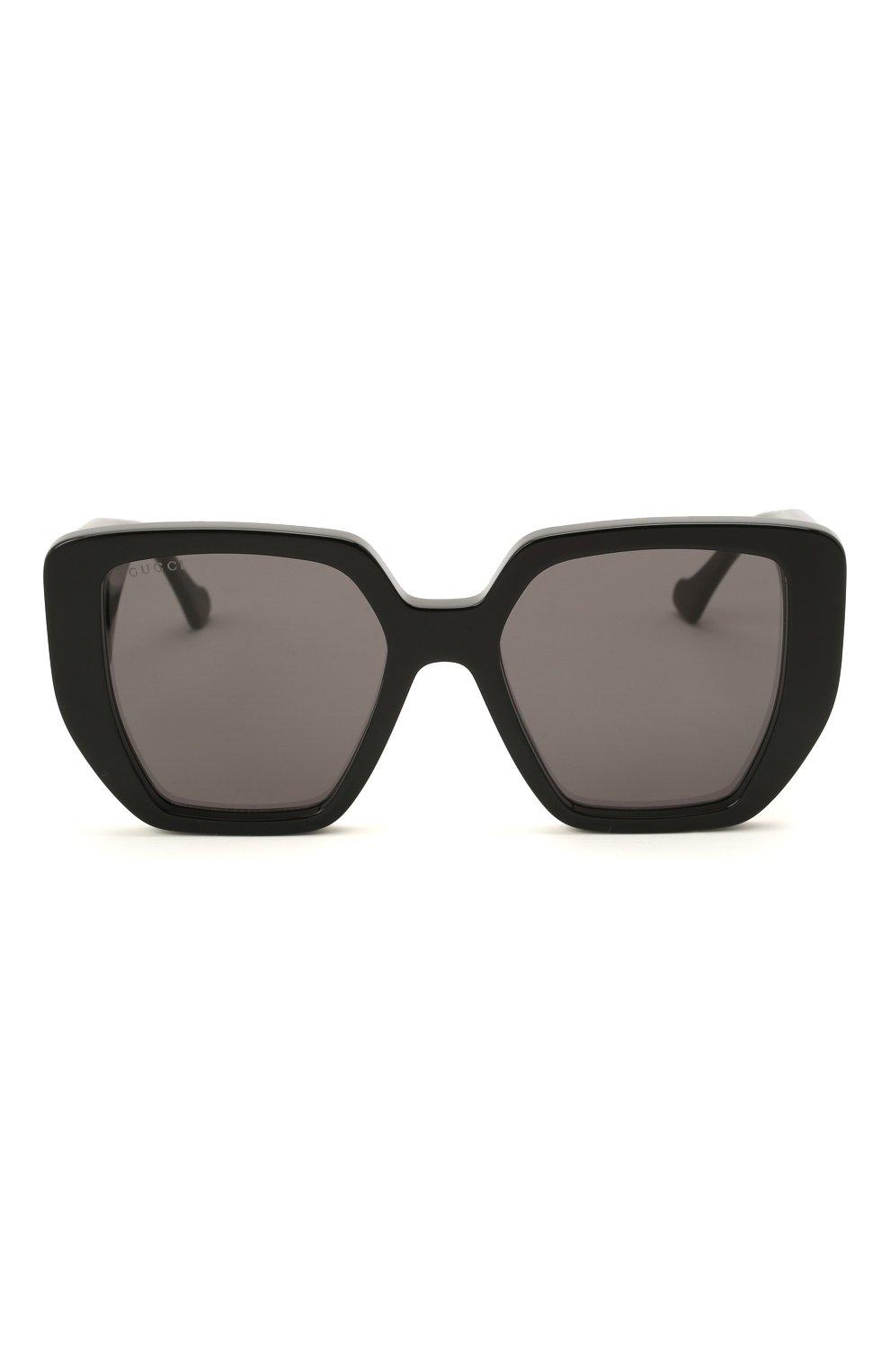 Женские солнцезащитные очки GUCCI черного цвета, арт. GG0956S 003 | Фото 3