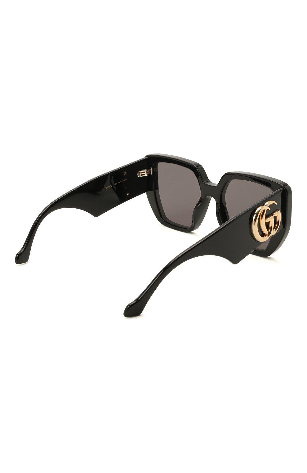 Женские солнцезащитные очки GUCCI черного цвета, арт. GG0956S 003 | Фото 4