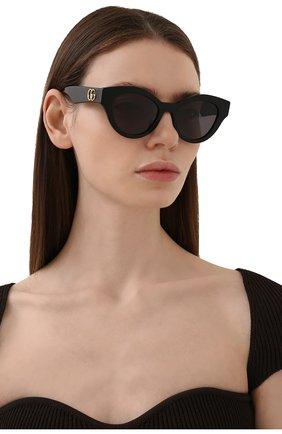 Женские солнцезащитные очки GUCCI черного цвета, арт. GG0957S 002   Фото 2