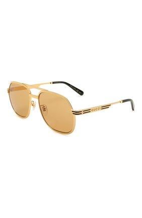 Женские солнцезащитные очки GUCCI золотого цвета, арт. GG0981S 003 | Фото 1
