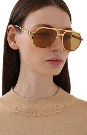 Женские солнцезащитные очки GUCCI золотого цвета, арт. GG0981S 003 | Фото 2