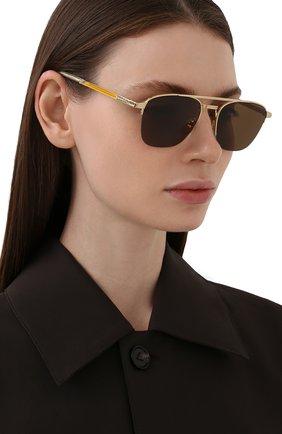 Женские солнцезащитные очки GUCCI золотого цвета, арт. GG0985S 002 | Фото 2