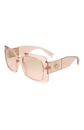 Женские солнцезащитные очки VERSACE светло-розового цвета, арт. 4405-53394E   Фото 1 (Тип очков: С/з; Оптика Гендер: оптика-женское; Очки форма: Прямоугольные)