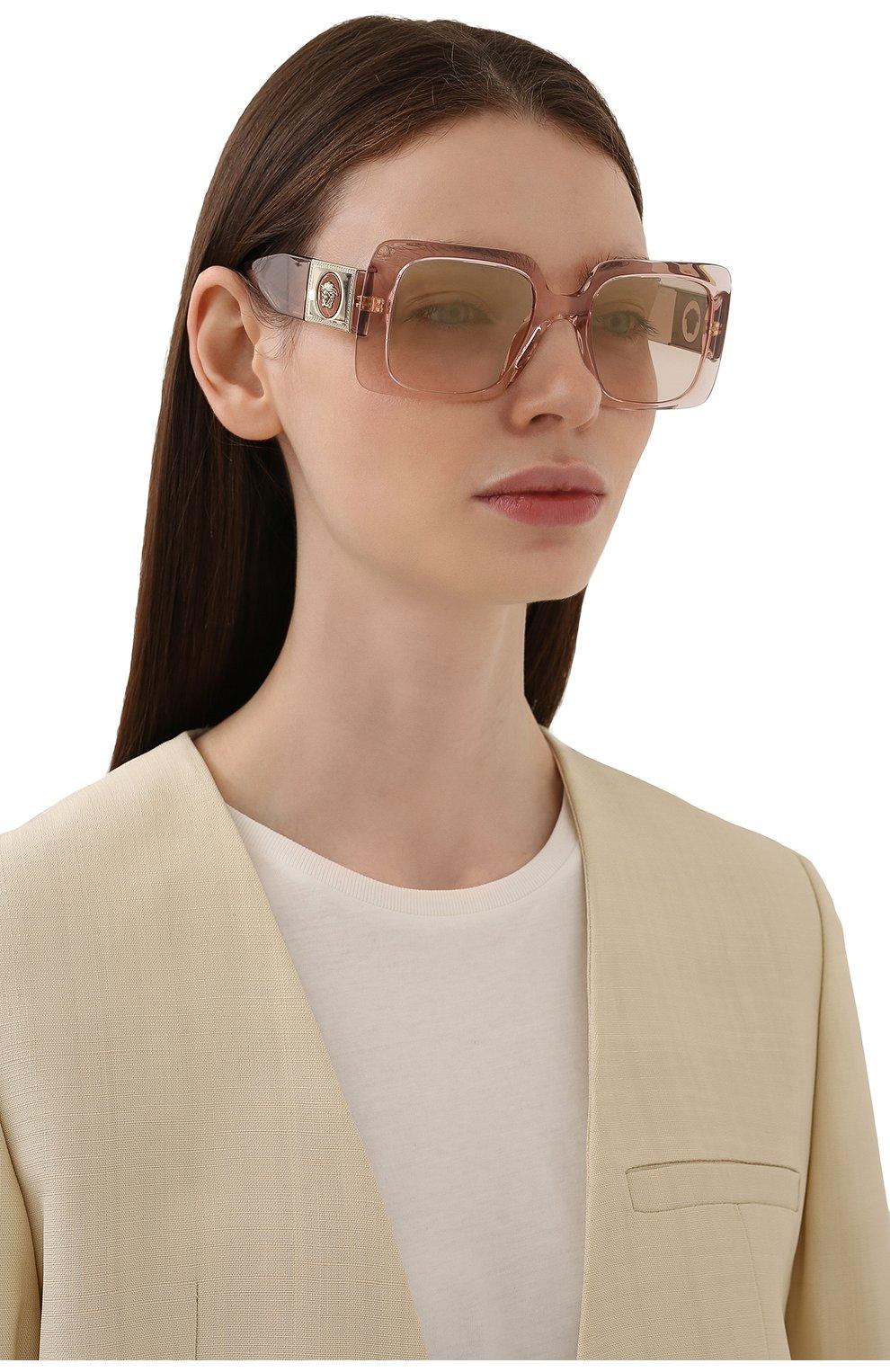 Женские солнцезащитные очки VERSACE светло-розового цвета, арт. 4405-53394E   Фото 2
