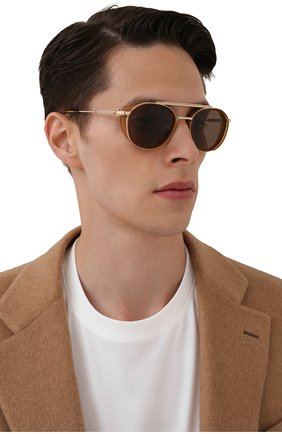 Мужские солнцезащитные очки AKONI золотого цвета, арт. AKS-501A | Фото 2 (Тип очков: С/з; Очки форма: Круглые; Оптика Гендер: оптика-мужское)