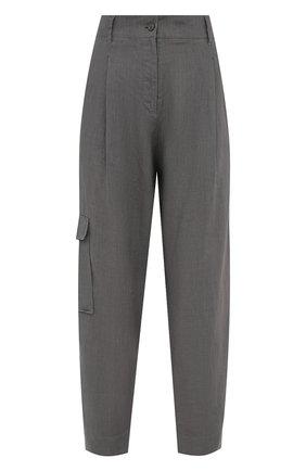Женские льняные брюки BOSS серого цвета, арт. 50454671 | Фото 1