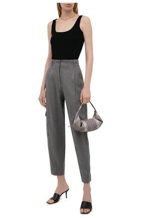 Женские льняные брюки BOSS серого цвета, арт. 50454671 | Фото 2