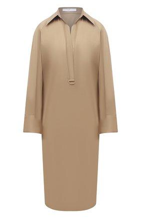 Женское хлопковое платье BOSS бежевого цвета, арт. 50460347 | Фото 1
