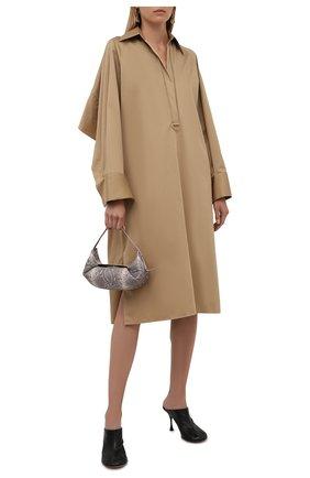 Женское хлопковое платье BOSS бежевого цвета, арт. 50460347 | Фото 2