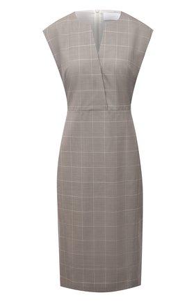 Женское шерстяное платье BOSS бежевого цвета, арт. 50447986 | Фото 1