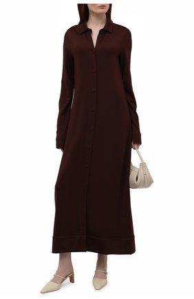 Женское платье из вискозы JIL SANDER темно-коричневого цвета, арт. JSWS710301-WS397908 | Фото 2 (Рукава: Длинные; Длина Ж (юбки, платья, шорты): Макси; Материал внешний: Вискоза; Стили: Минимализм; Случай: Повседневный; Кросс-КТ: Трикотаж)
