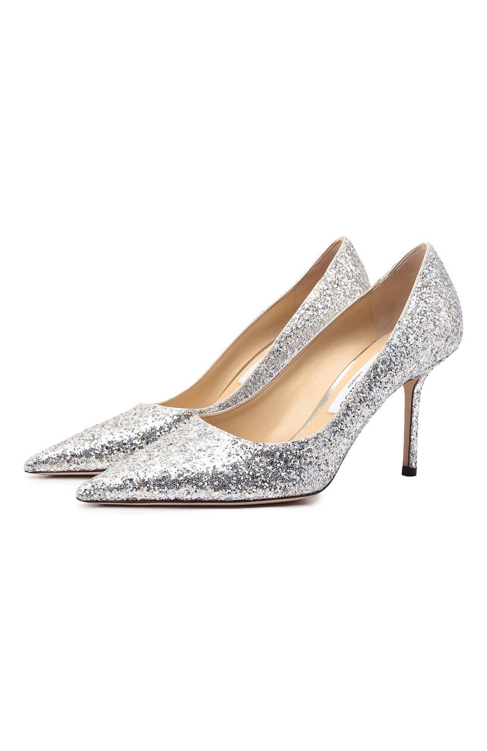 Женские комбинированные туфли love 85 JIMMY CHOO серебряного цвета, арт. L0VE 85/LDD   Фото 1 (Материал внешний: Текстиль; Каблук высота: Высокий; Материал внутренний: Натуральная кожа; Каблук тип: Шпилька; Подошва: Плоская)