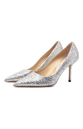 Женские комбинированные туфли love 85 JIMMY CHOO серебряного цвета, арт. L0VE 85/LDD | Фото 1