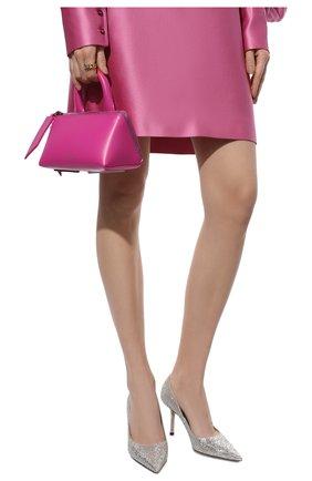 Женские комбинированные туфли love 85 JIMMY CHOO серебряного цвета, арт. L0VE 85/LDD   Фото 3 (Материал внешний: Текстиль; Каблук высота: Высокий; Материал внутренний: Натуральная кожа; Каблук тип: Шпилька; Подошва: Плоская)