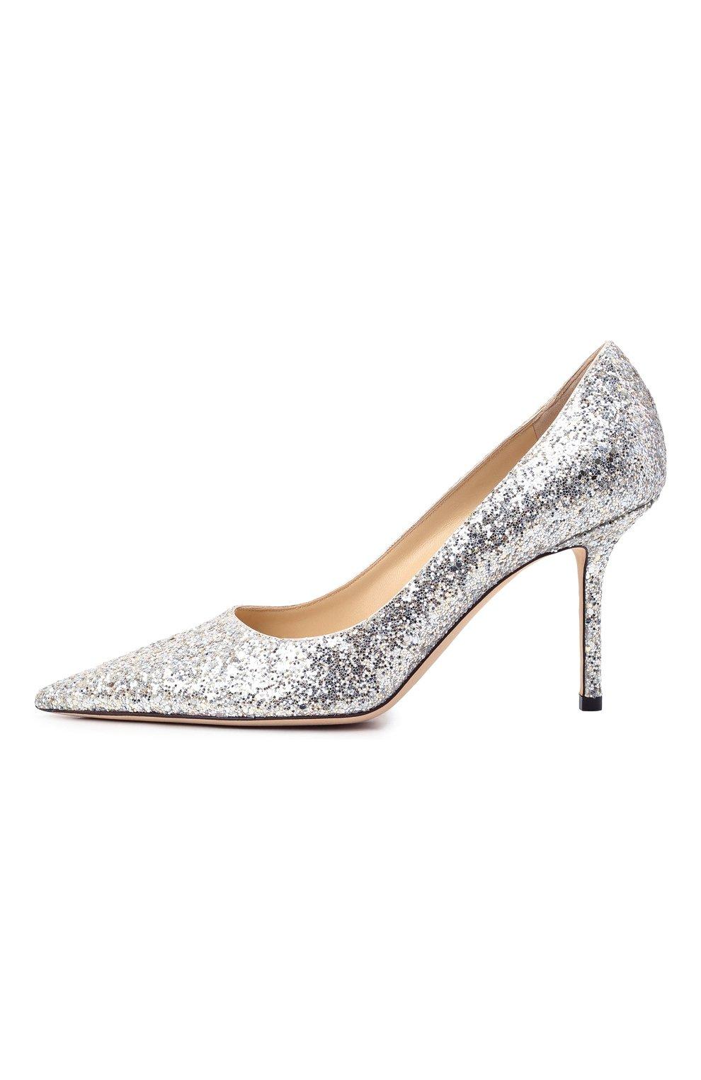 Женские комбинированные туфли love 85 JIMMY CHOO серебряного цвета, арт. L0VE 85/LDD   Фото 4 (Материал внешний: Текстиль; Каблук высота: Высокий; Материал внутренний: Натуральная кожа; Каблук тип: Шпилька; Подошва: Плоская)