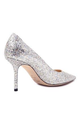 Женские комбинированные туфли love 85 JIMMY CHOO серебряного цвета, арт. L0VE 85/LDD   Фото 5 (Материал внешний: Текстиль; Каблук высота: Высокий; Материал внутренний: Натуральная кожа; Каблук тип: Шпилька; Подошва: Плоская)