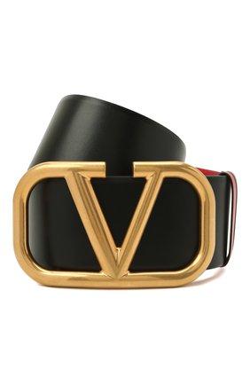 Женский кожаный ремень VALENTINO черного цвета, арт. WW2T0S10/ZFR | Фото 1 (Кросс-КТ: Широкие)