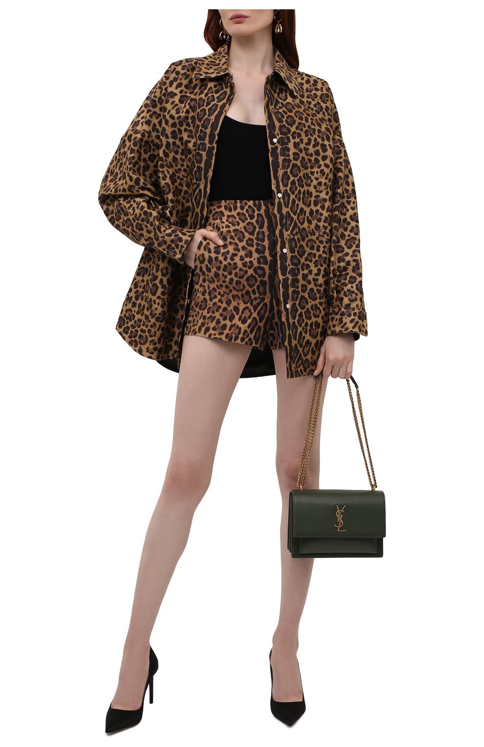 Женские шорты из шерсти и шелка VALENTINO леопардового цвета, арт. WB3RF1N76NA | Фото 2 (Женское Кросс-КТ: Шорты-одежда; Материал внешний: Шерсть, Шелк; Длина Ж (юбки, платья, шорты): Мини)