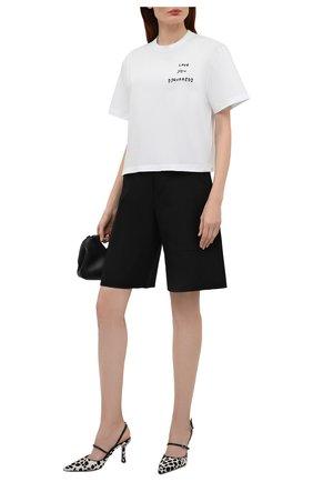 Женская хлопковая футболка DSQUARED2 белого цвета, арт. S75GD0225/S22427 | Фото 2