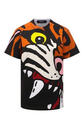 Женская хлопковая футболка DSQUARED2 разноцветного цвета, арт. S75GD0222/S23009 | Фото 1