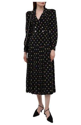 Женское шелковое платье ALESSANDRA RICH черного цвета, арт. FAB2614-F3253   Фото 2