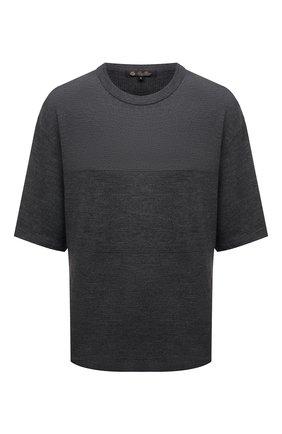 Женская шерстяная футболка LORO PIANA темно-серого цвета, арт. FAL6878 | Фото 1 (Рукава: Короткие; Материал внешний: Шерсть; Длина (для топов): Стандартные; Стили: Кэжуэл; Принт: Без принта; Женское Кросс-КТ: Футболка-одежда)