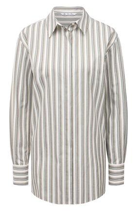 Женская хлопковая рубашка LORO PIANA зеленого цвета, арт. FAL8093 | Фото 1 (Материал внешний: Хлопок; Рукава: Длинные; Стили: Кэжуэл; Принт: Полоска, С принтом; Женское Кросс-КТ: Рубашка-одежда; Длина (для топов): Удлиненные)