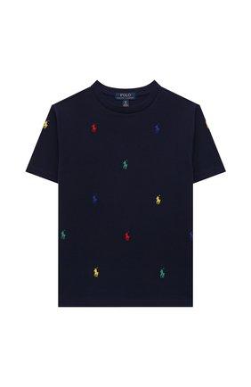 Детская хлопковая футболка POLO RALPH LAUREN синего цвета, арт. 323844626 | Фото 1