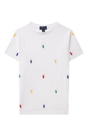 Детская хлопковая футболка POLO RALPH LAUREN белого цвета, арт. 323844626   Фото 1