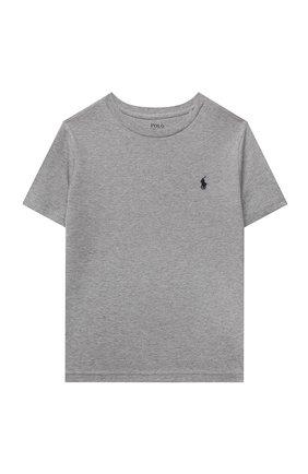 Детская хлопковая футболка POLO RALPH LAUREN серого цвета, арт. 323832904 | Фото 1