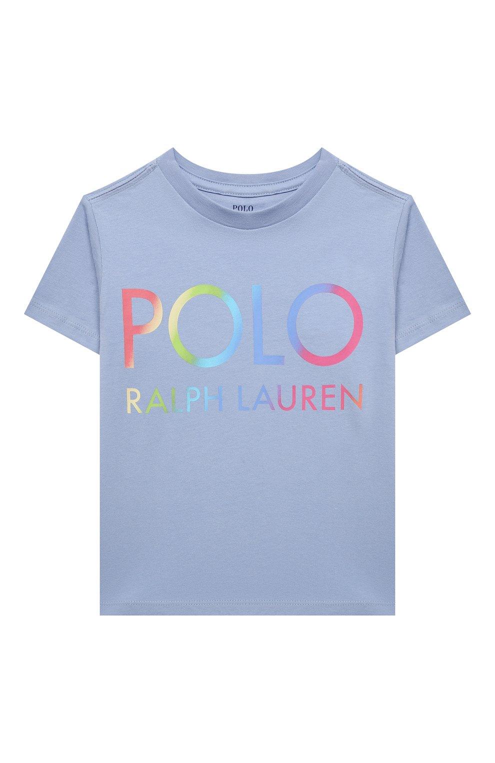 Детская хлопковая футболка POLO RALPH LAUREN голубого цвета, арт. 313841391   Фото 1