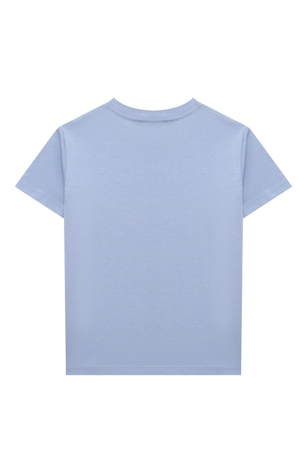 Детская хлопковая футболка POLO RALPH LAUREN голубого цвета, арт. 313841391   Фото 2