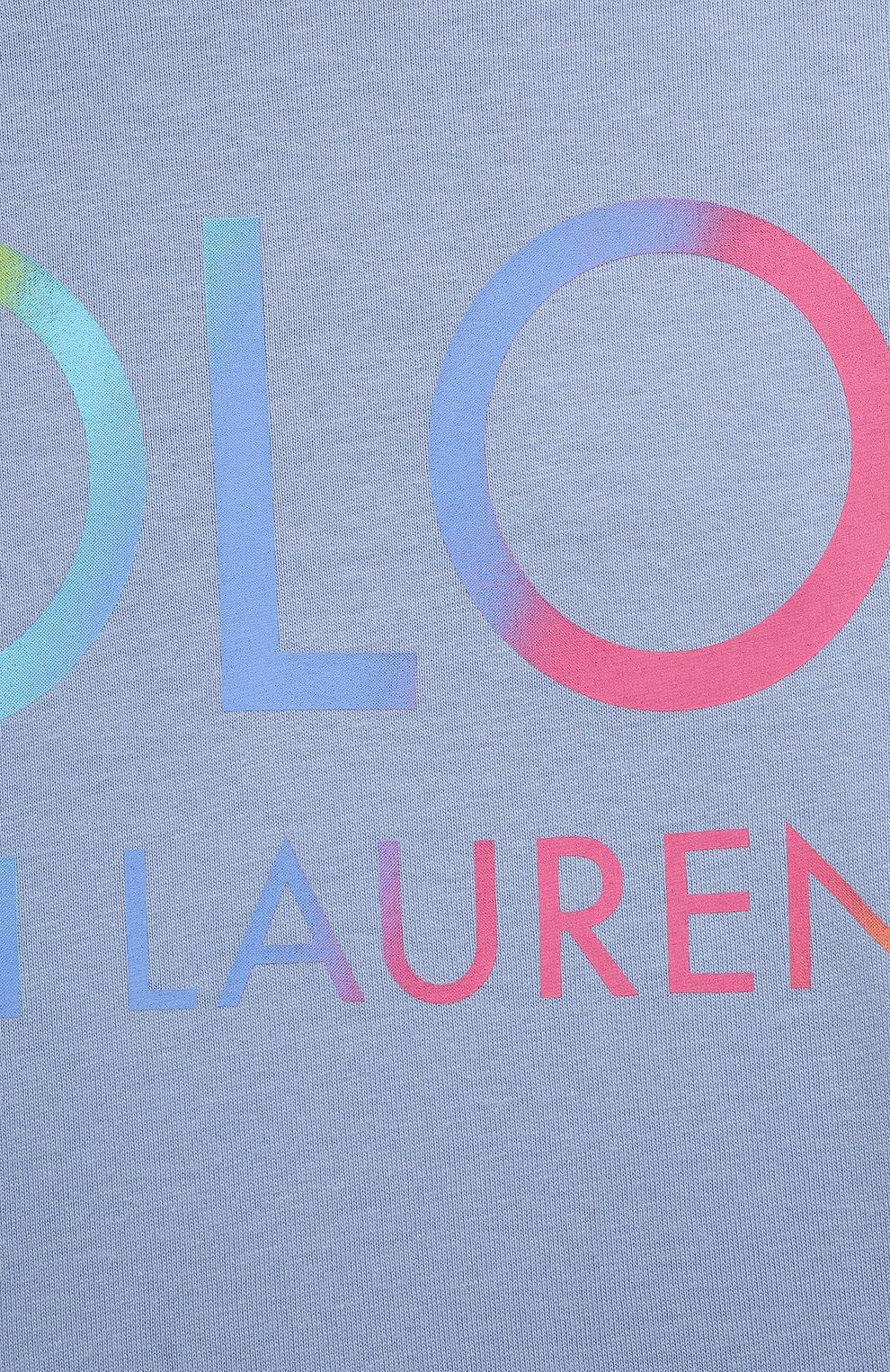 Детская хлопковая футболка POLO RALPH LAUREN голубого цвета, арт. 313841391   Фото 3