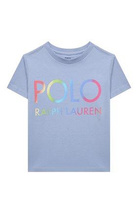 Детская хлопковая футболка POLO RALPH LAUREN голубого цвета, арт. 312841391 | Фото 1