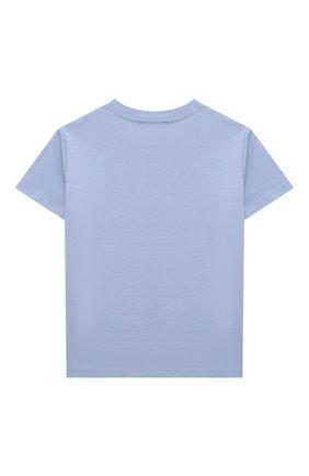 Детская хлопковая футболка POLO RALPH LAUREN голубого цвета, арт. 311841391 | Фото 2