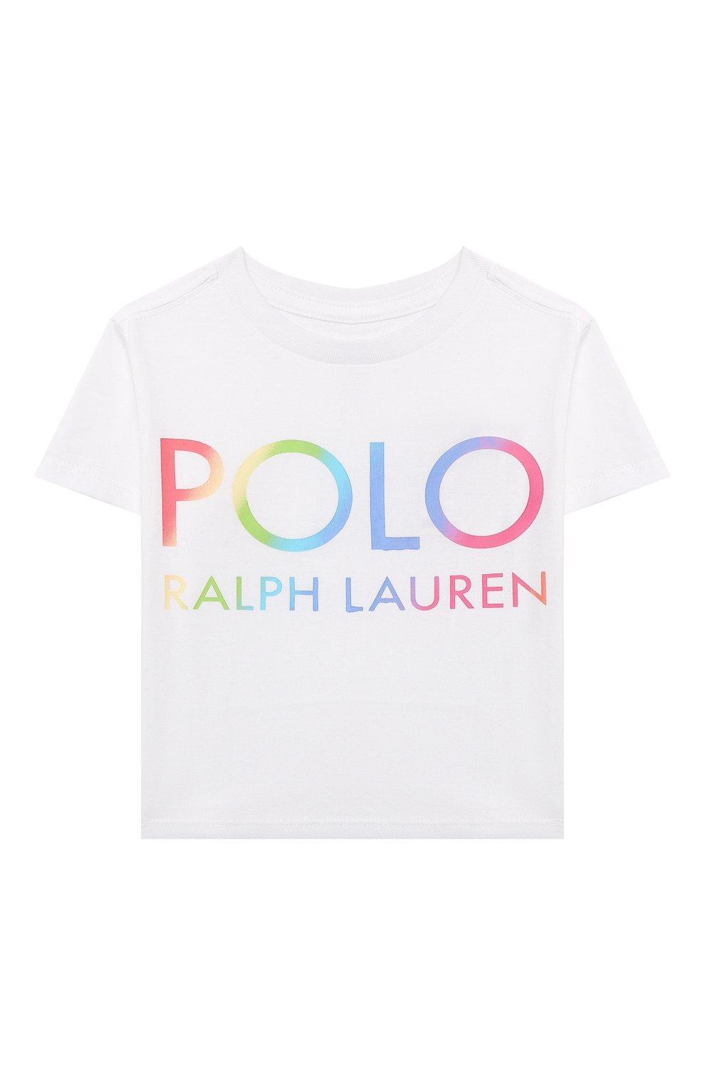 Детская хлопковая футболка POLO RALPH LAUREN белого цвета, арт. 312841391   Фото 1