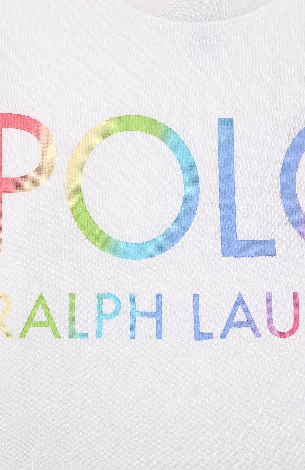Детская хлопковая футболка POLO RALPH LAUREN белого цвета, арт. 312841391   Фото 3