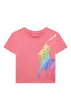 Детская хлопковая футболка POLO RALPH LAUREN розового цвета, арт. 311841390 | Фото 1