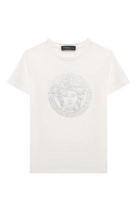 Детская хлопковая футболка VERSACE белого цвета, арт. 1000052/1A01421/4A-6A | Фото 1