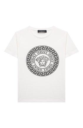 Детская хлопковая футболка VERSACE белого цвета, арт. 1000129/1A01381/4A-6A | Фото 1
