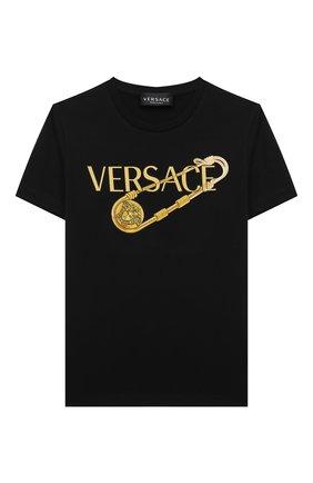 Детская хлопковая футболка VERSACE черного цвета, арт. 1000239/1A01431/4A-6A | Фото 1