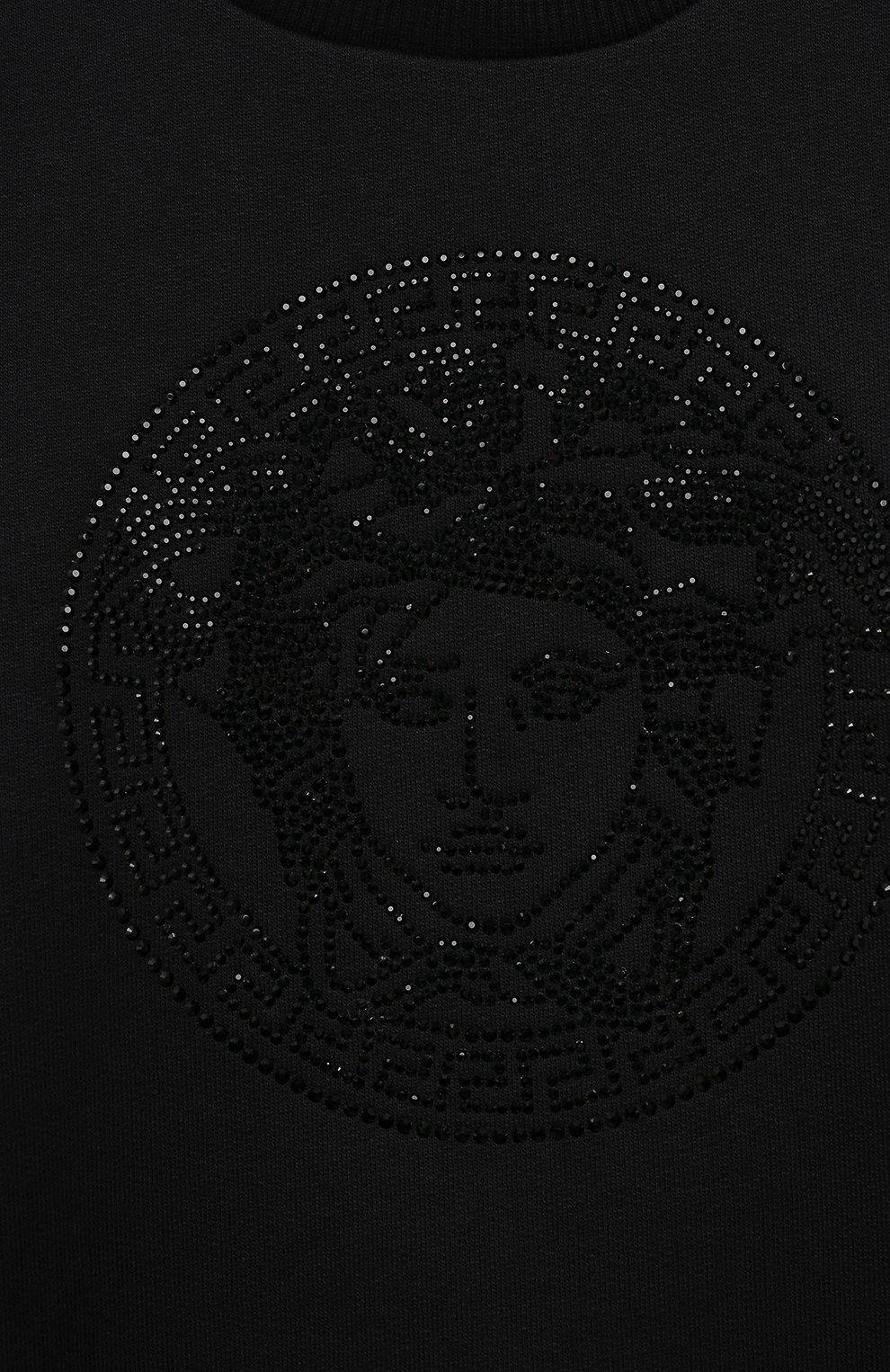 Детский хлопковый свитшот VERSACE черного цвета, арт. 1000349/1A01410/8A-14A   Фото 3