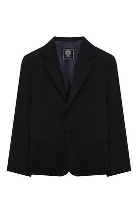 Детский шерстяной пиджак DAL LAGO темно-синего цвета, арт. N004/1011/13-16 | Фото 1 (Материал подклада: Вискоза; Материал внешний: Шерсть; Рукава: Длинные; Кросс-КТ: пиджак; Ростовка одежда: 13 - 15 лет | 158 см, 16 лет | 164 см)