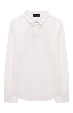 Детская хлопковая рубашка EMPORIO ARMANI белого цвета, арт. 6K4CJ1/1NZYZ | Фото 1