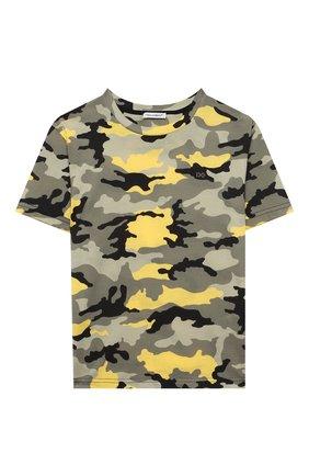 Детская хлопковая футболка DOLCE & GABBANA хаки цвета, арт. L4JTDH/G7A2T/2-6 | Фото 1 (Материал внешний: Хлопок; Рукава: Короткие; Ростовка одежда: 2 года | 92 см, 3 года | 98 см, 4 года | 104 см, 5 лет | 110 см, 6 лет | 116 см)