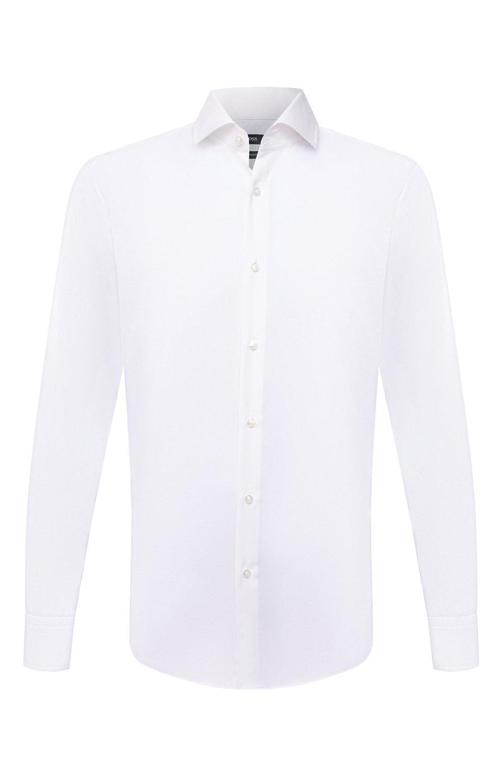 Мужская хлопковая сорочка BOSS белого цвета, арт. 50451171 | Фото 1
