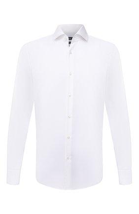 Мужская хлопковая сорочка BOSS белого цвета, арт. 50451171 | Фото 1 (Материал внешний: Хлопок; Длина (для топов): Стандартные; Случай: Формальный; Стили: Классический; Рубашки М: Regular Fit; Рукава: Длинные)